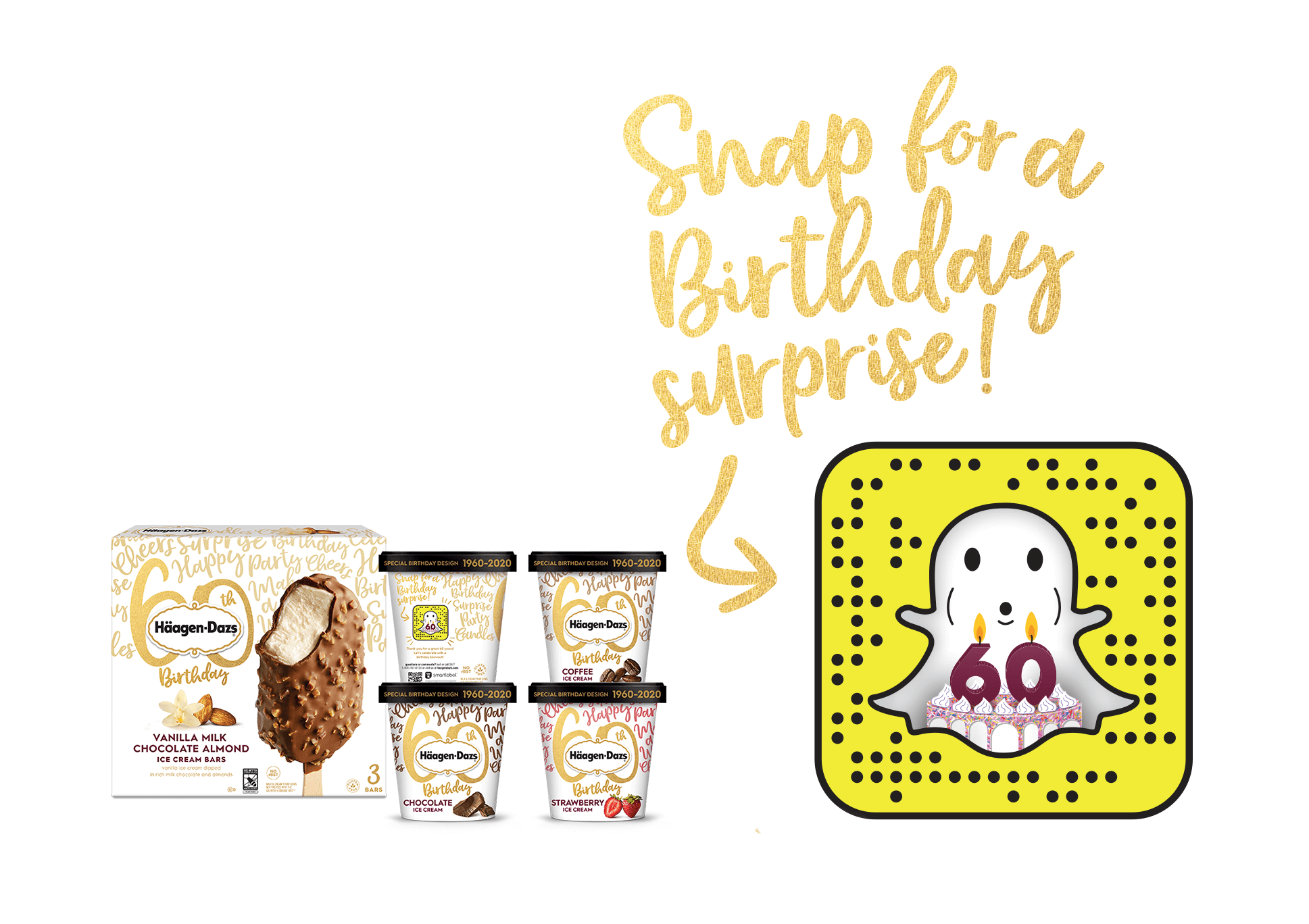 5 different Birthday Edition containers each featured a unique call-to-action to help celebrate and to Snap for an interactive birthday surprise.