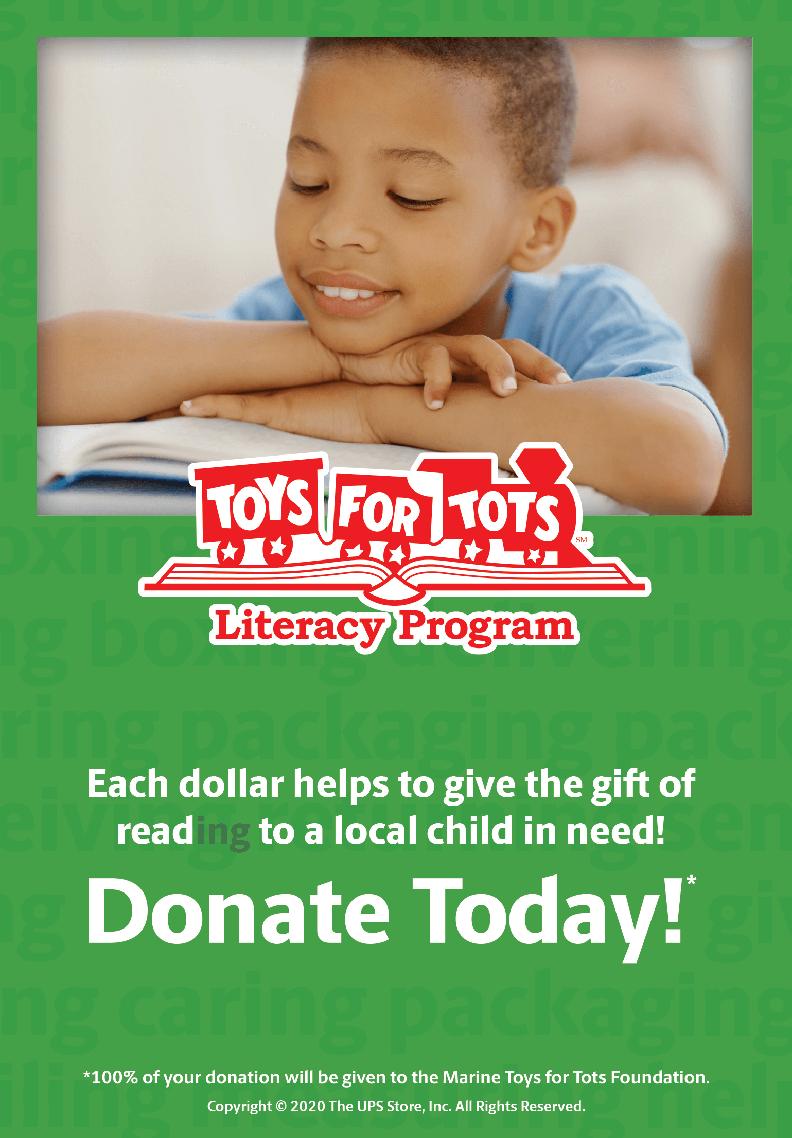 We created a suite of unique POS collateral, including a coin box wrap, to encourage in-store donations and help create awareness around the Toys for Tots Literacy Program.
