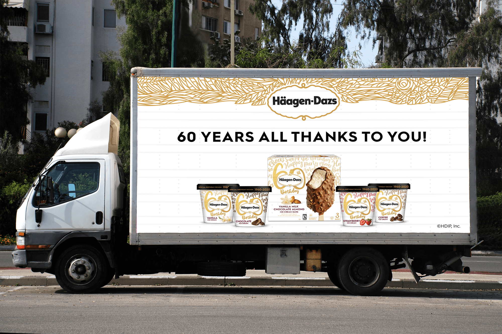 Delivery truck billboards rolled out and expressed big-time gratitude to consumers for 60 flavorful years, while showcasing the unique Birthday Edition packages.