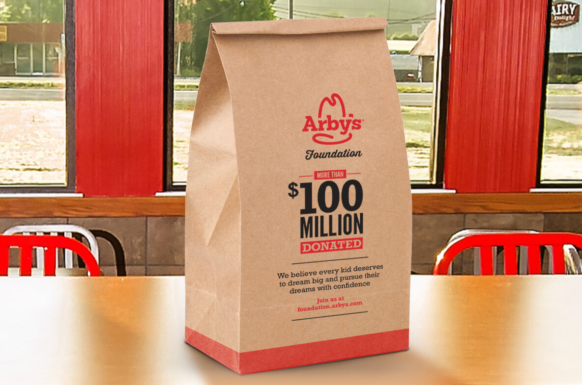 Every year, we partner pro bono with Arby's Foundation — a charity that helps build brighter futures for kids in need — to create marketing swag and in-store collateral for the program.